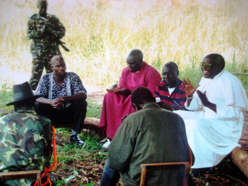 Uganda. Archdiocese Gulu, 2003 Archbishop John Baptist Odama and other Acholi Religious Leaders Peace Initiative in a peace negotiation with the top rebel commanders of the LRA in the bush.
